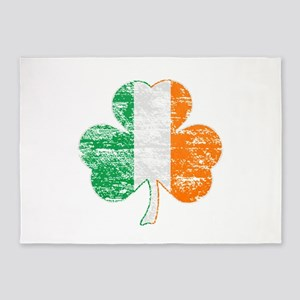 Vintage Irish Flag Shamrock 5'x7'Area Rug