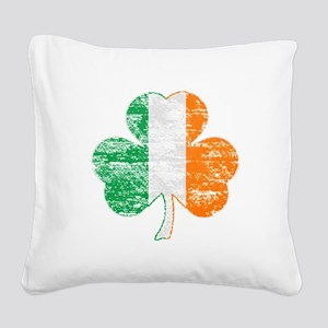 Vintage Irish Flag Shamrock Square Canvas Pillow