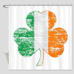Vintage Irish Flag Shamrock Shower Curtain