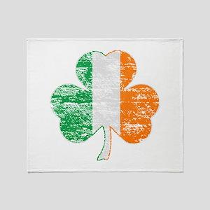 Vintage Irish Flag Shamrock Throw Blanket