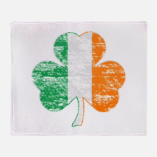 Vintage Irish Flag Shamrock Throw Blanket