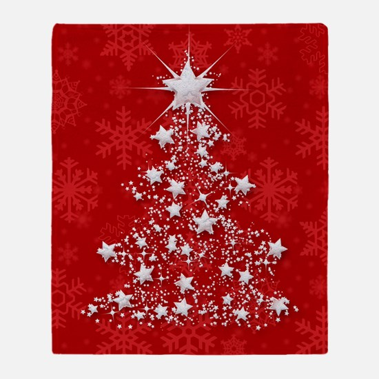 Sparkling Red Christmas Tree Throw Blanket