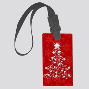 Sparkling Red Christmas Tree Large Luggage Tag