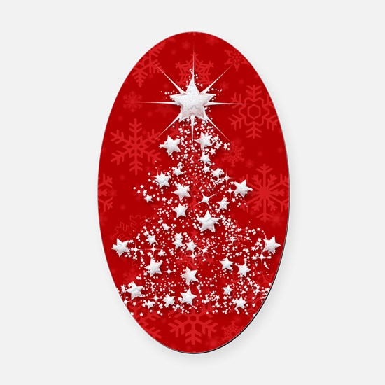 Sparkling Red Christmas Tree Oval Car Magnet