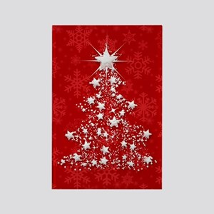 Sparkling Red Christmas Tree Rectangle Magnet