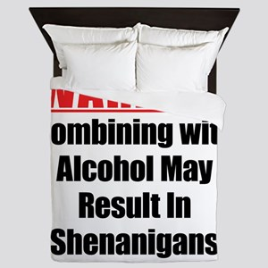warning-alcohol-shenanigans Queen Duvet