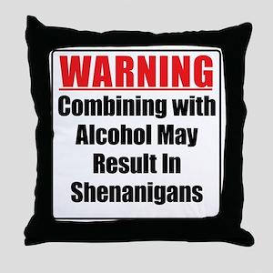 warning-alcohol-shenanigans Throw Pillow