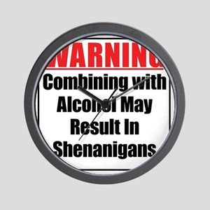 warning-alcohol-shenanigans Wall Clock