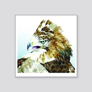 """Red-tail Watercolor Square Sticker 3"""" x 3"""""""