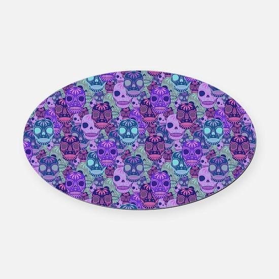 Purple Calavera Oval Car Magnet