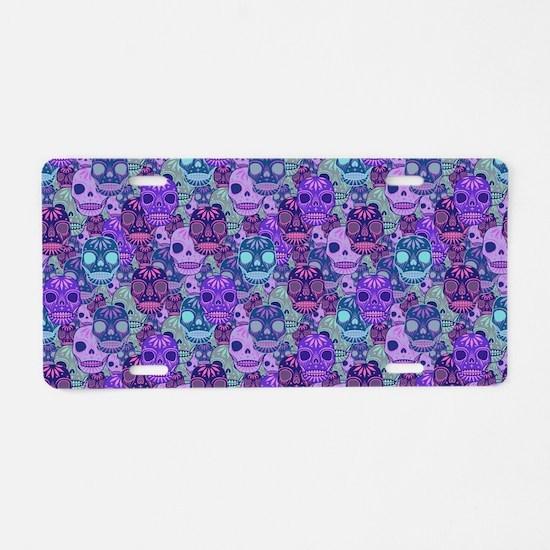Purple Calavera Aluminum License Plate