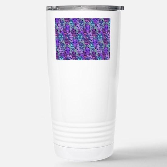 Purple Calavera Stainless Steel Travel Mug