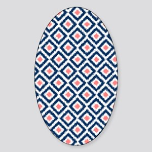 Blue Ikat Sticker (Oval)