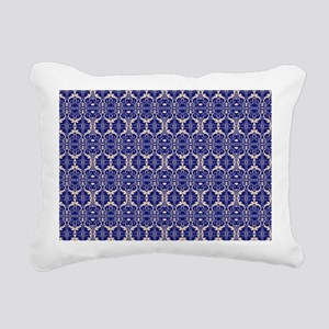 Elegant Vintage Blue Rectangular Canvas Pillow