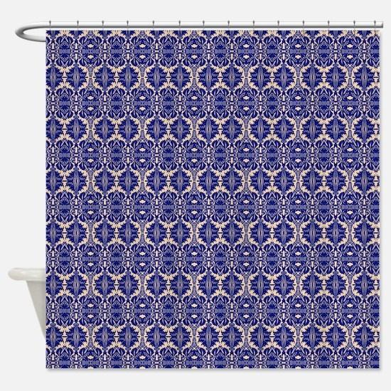 Elegant Vintage Blue Shower Curtain