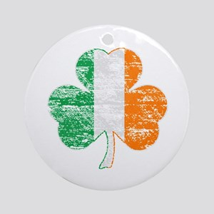 Vintage Irish Flag Shamrock Ornament (Round)