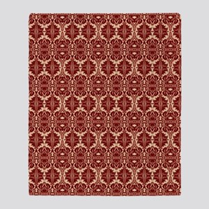 Elegant Red Vintage Throw Blanket