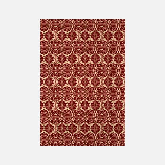Elegant Red Vintage Rectangle Magnet