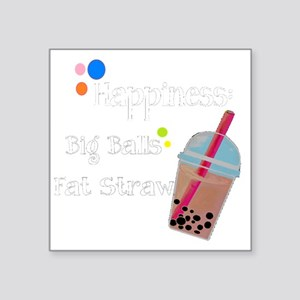 "Bubble Tea, Happiness: Big  Square Sticker 3"" x 3"""