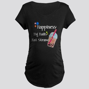 Bubble Tea, Happiness: Big  Maternity Dark T-Shirt
