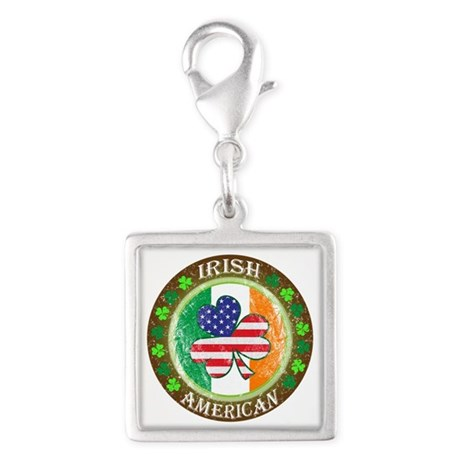Irish American Silver Square Charm