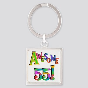 Awesome 55 Birthday Square Keychain