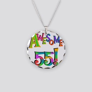 Awesome 55 Birthday Necklace Circle Charm
