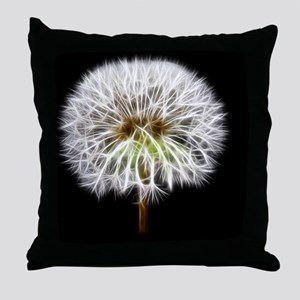White Dandelion Flower Plant Throw Pillow