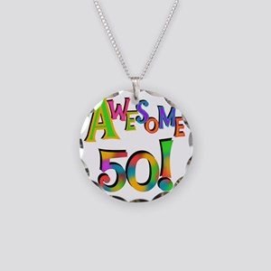 Awesome 50 Birthday Necklace Circle Charm