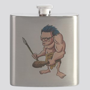 Cartoon caveman with a club Flask
