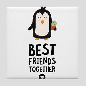 Penguin and Cactus Best friends Heart Tile Coaster