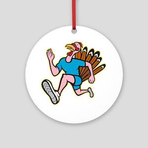 Turkey Run Runner Side Cartoon Isol Round Ornament