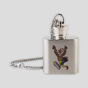 Turkey Run Runner Cartoon Isolated Flask Necklace