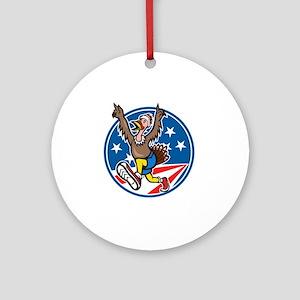 American Turkey Run Runner Cartoon Round Ornament