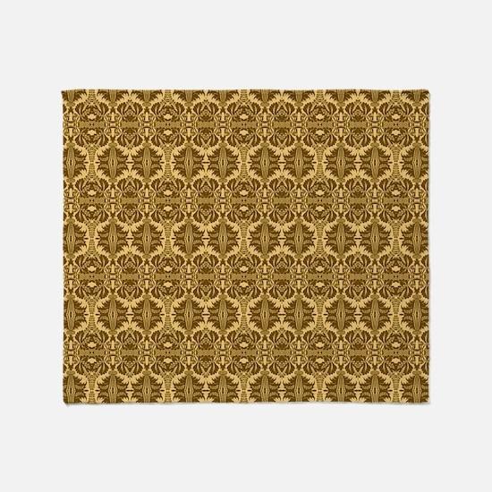 Elegant Brown and Gold Vintage Throw Blanket