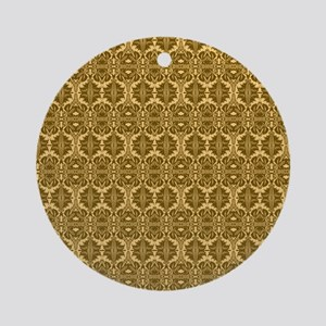 Elegant Vintage Gold and Brown Round Ornament