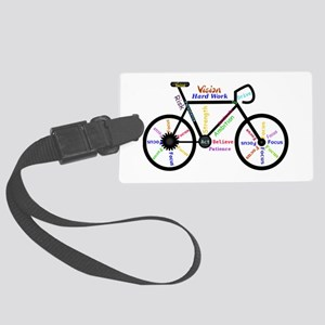 Bike made up of words to motivat Large Luggage Tag
