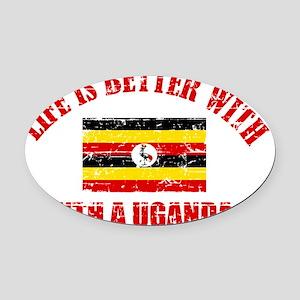 Ugandan flag designs Oval Car Magnet