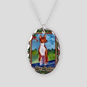 Basenji Dog Christmas Necklace Oval Charm