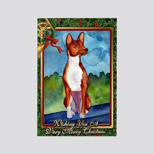 Basenji Dog Christmas Rectangle Magnet