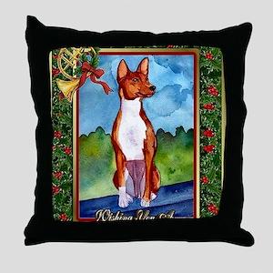 Basenji Dog Christmas Throw Pillow