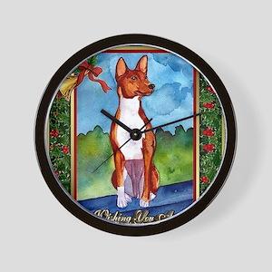 Basenji Dog Christmas Wall Clock