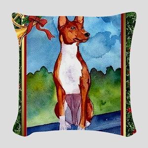 Basenji Dog Christmas Woven Throw Pillow