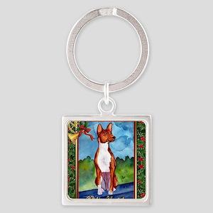 Basenji Dog Christmas Square Keychain