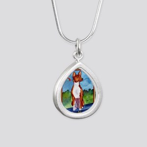Basenji Dog Christmas Silver Teardrop Necklace