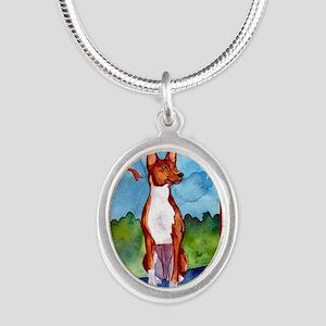 Basenji Dog Christmas Silver Oval Necklace