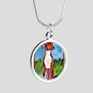 Basenji Dog Christmas Silver Round Necklace