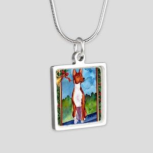 Basenji Dog Christmas Silver Square Necklace