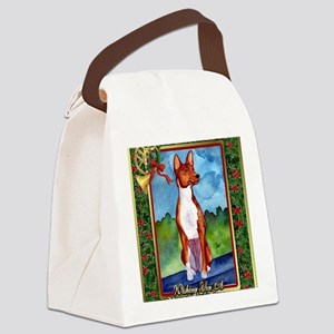 Basenji Dog Christmas Canvas Lunch Bag
