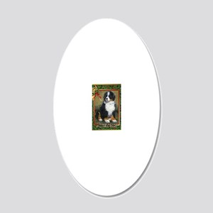 Bernese Mountain Dog Christm 20x12 Oval Wall Decal